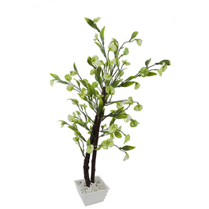 Artificial Disc Leaves Bonsai Tree with White Square pot - Fancy Mart