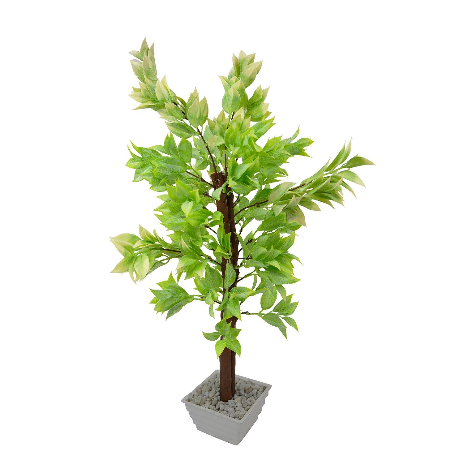 Artificial Latex Leaves Bonsai Tree with White Square pot