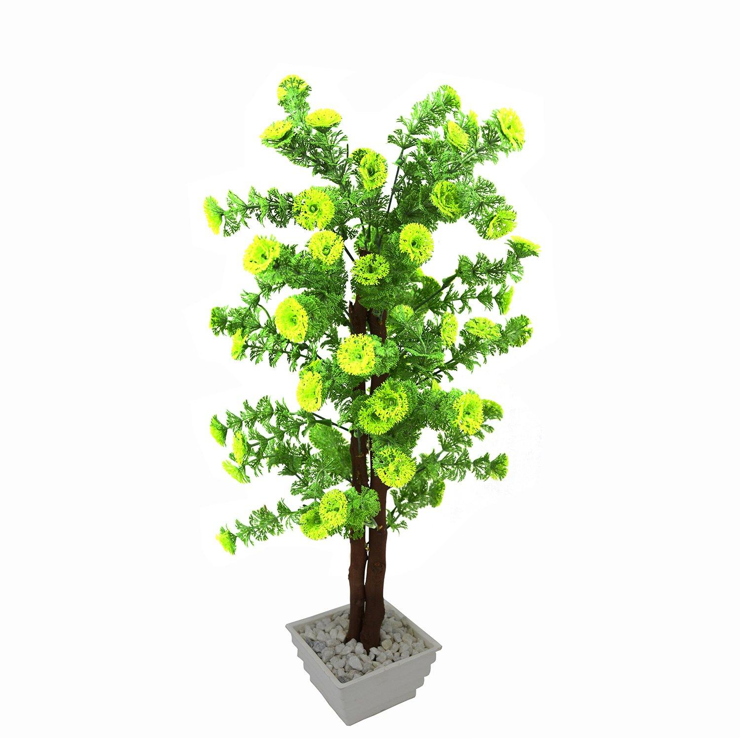Artificial Corriender Bonsai Tree with White Square pot - Fancy Mart