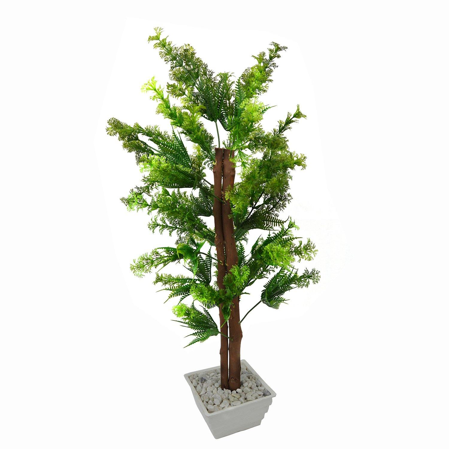 Artificial Green Corriender Bonsai Tree with White Square pot - Fancy Mart