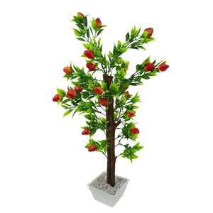 Artificial Strawberry Fruit Bonsai Tree with White Square pot