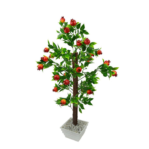 Artificial Pomegranate Fruit Bonsai Tree with White Square pot - Fancy Mart