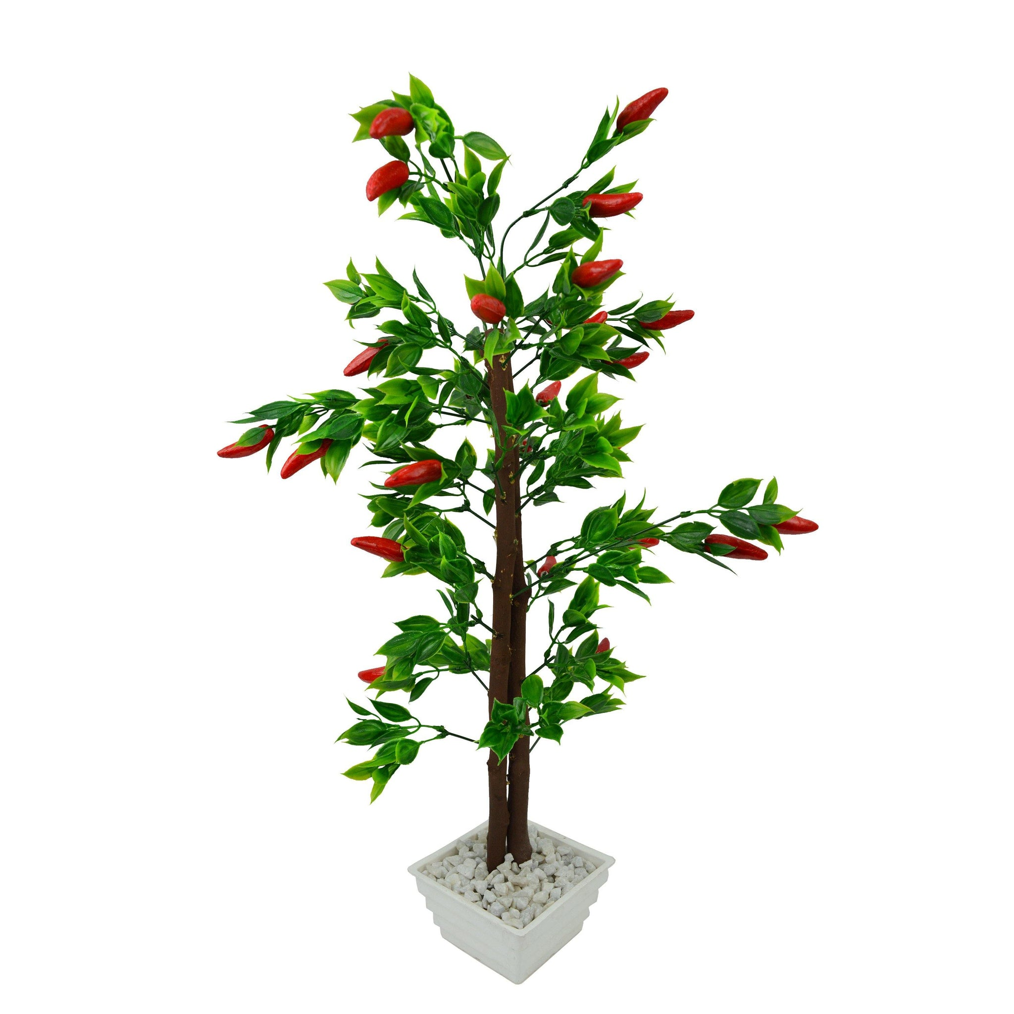 Artificial Red Chillies Bonsai Tree with White Square pot