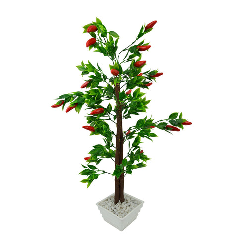 Artificial Red Chillies Bonsai Tree with White Square pot - Fancy Mart