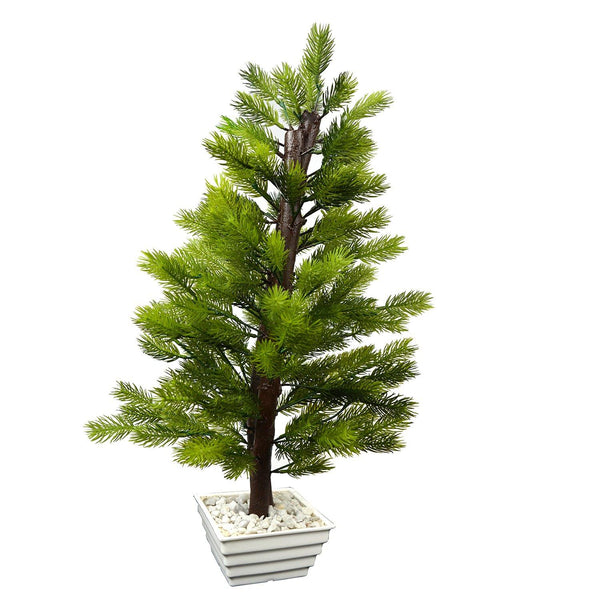 Artificial Pine Tree with White Square pot - Fancy Mart