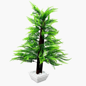 Artificial Christmas Tree with White Square pot - Fancy Mart