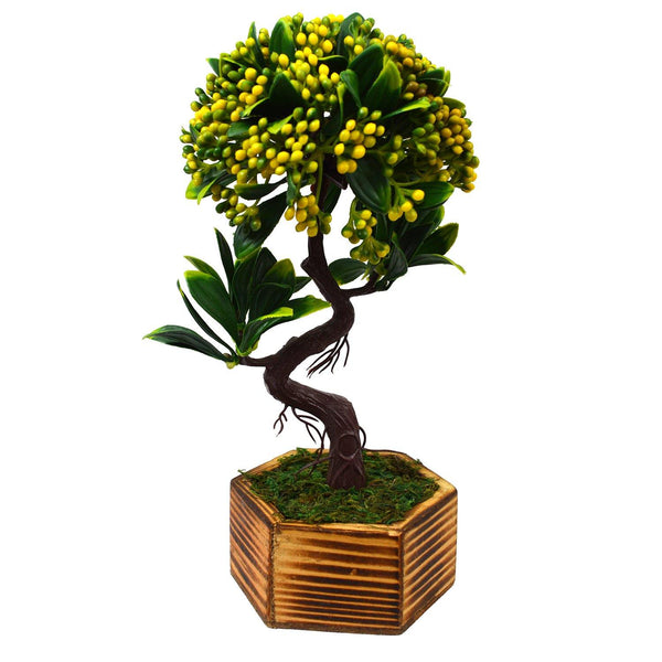 Artificial Beads Bonsai DDT in Wood Hexa pot - Fancy Mart