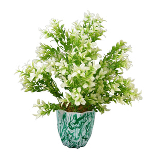 Artificial Plants Tulsi in Marble Finish Long Pot - Fancy Mart