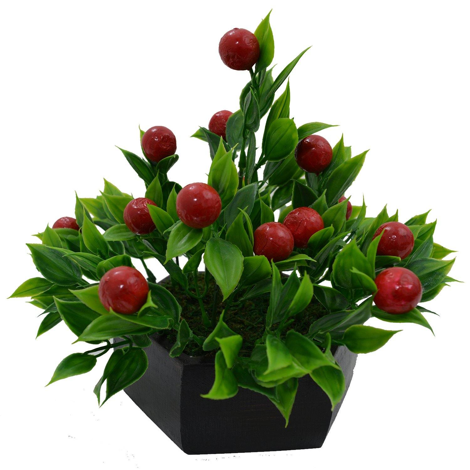 Artificial Cherry Fruit Bonsai in Wood Hexagun Pot - Fancy Mart