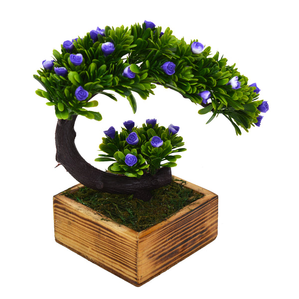 Bend Artificial Bonsai Plant in Wood Square Pot