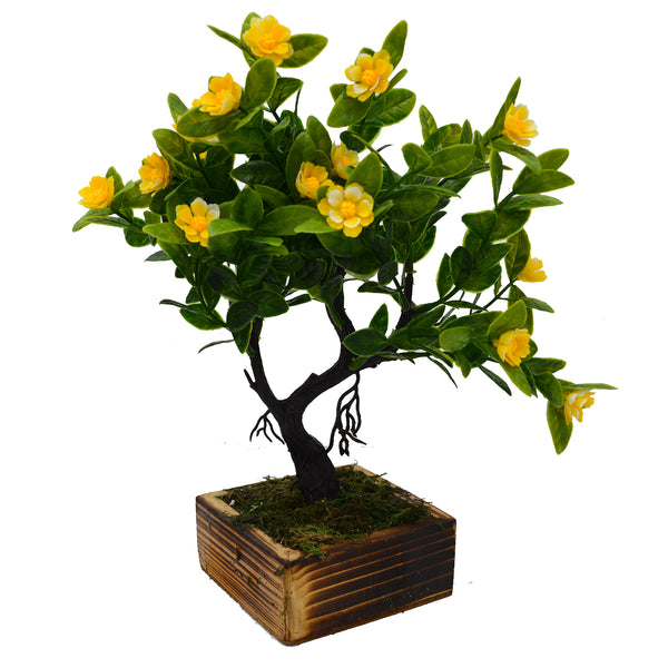 Flower Artificial Bonsai Plant in Wood Square Pot