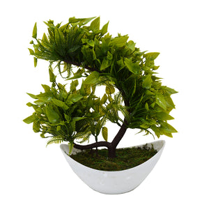 Leave Bush Artificial Bonsai Plant in Boat Shape Pot
