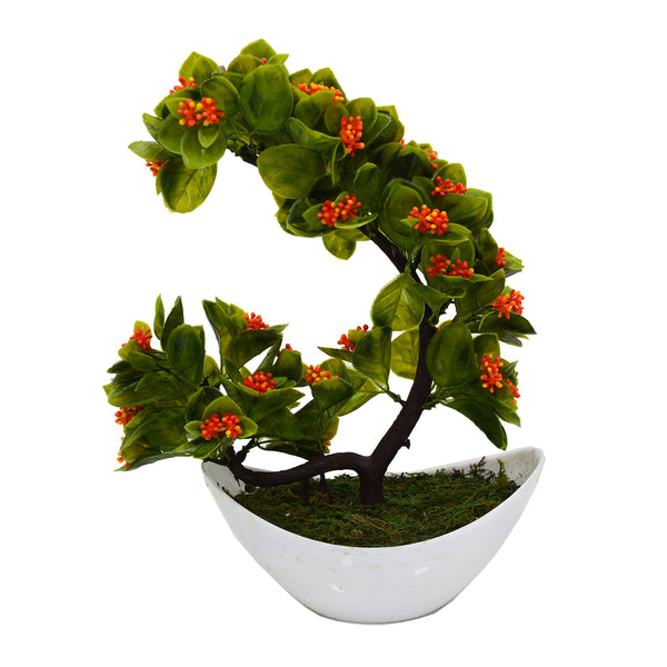 Artificial Leave Bonsai Plant in Boat Shape Pot