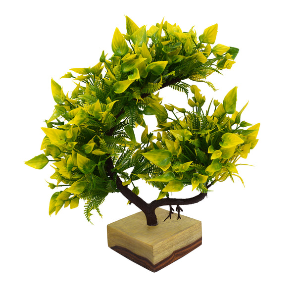 Leave Bush Artificial Bonsai Plant in Natural Teak Wood Log