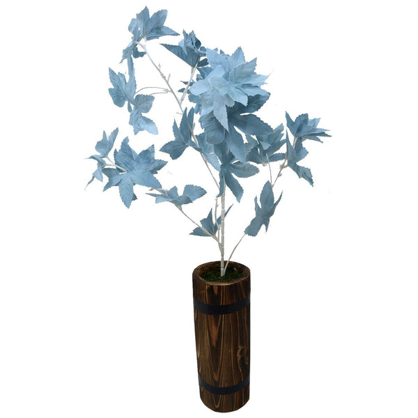 Artificial Mapple Leaves Plant With Round Long wood Pot - Fancy Mart