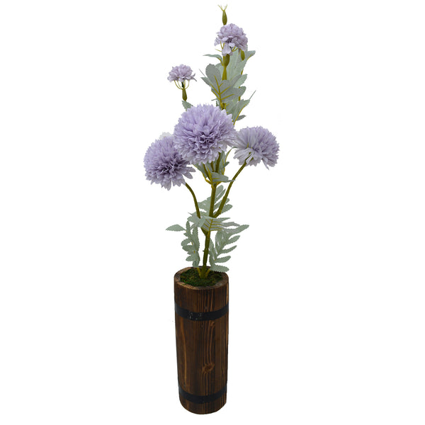 Artificial 6 Heads Dahlia Flower Plant With Round Long wood Pot