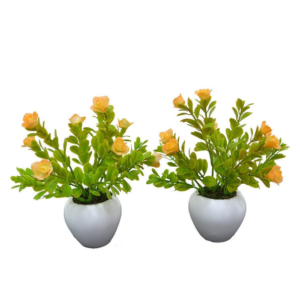 Artificial Rubber Rose Plant (Single piece)  With Small Apple Pot - Fancy Mart