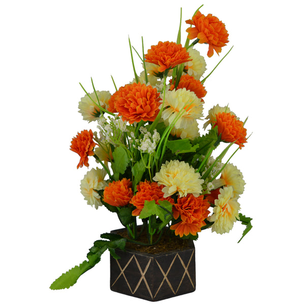 Artificial Delia Flowers in Wood Hexagun Pot