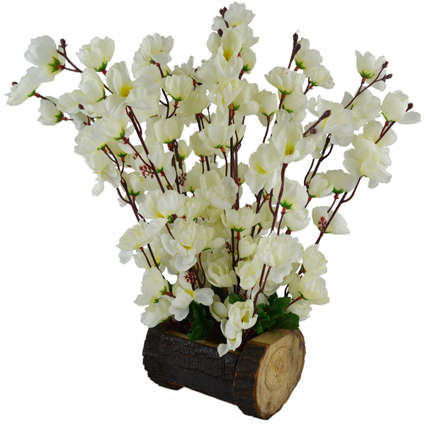 Artificial Blossom Flowers  in  Wood Buckle Pot-1