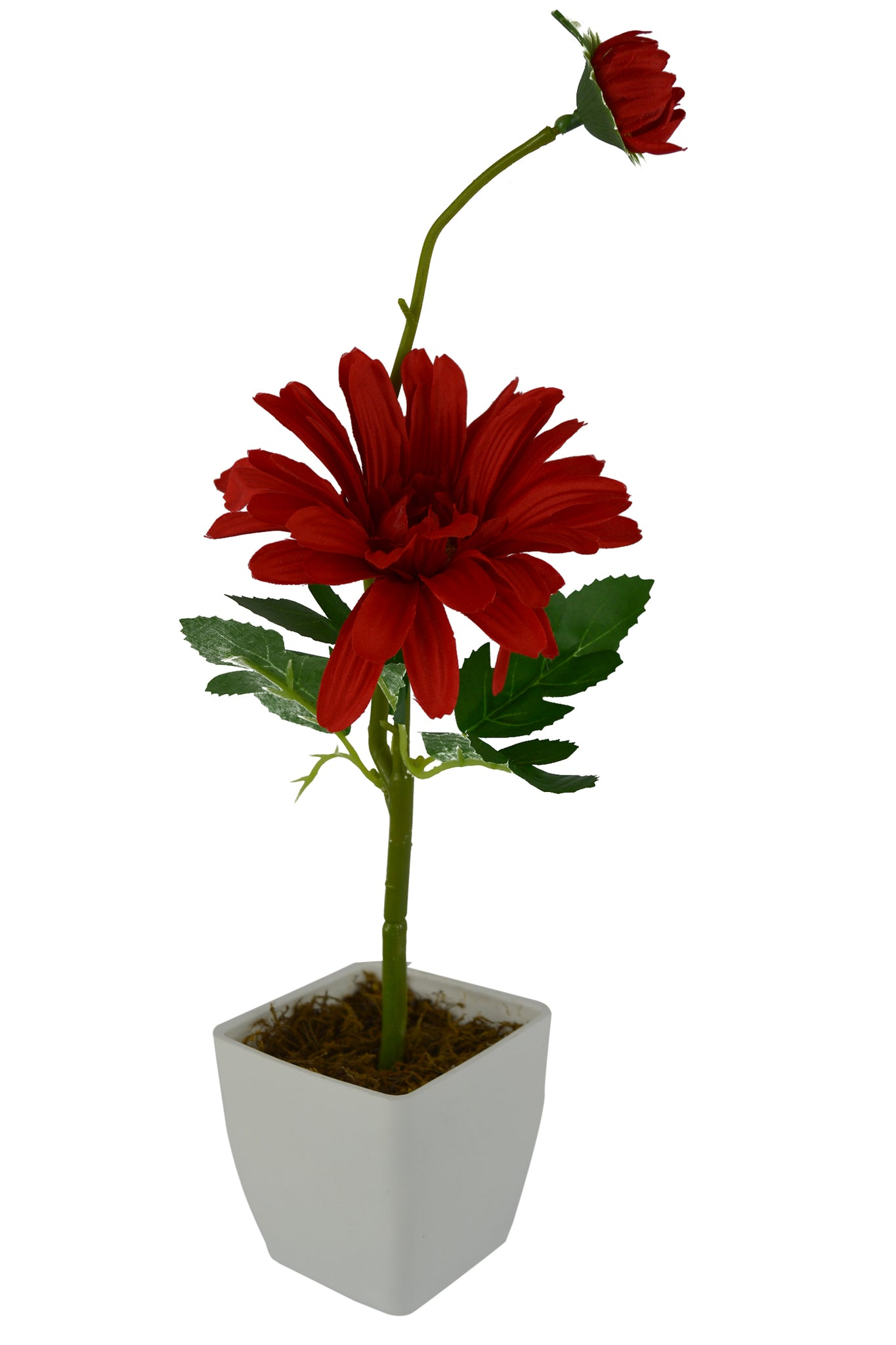 Artificial Flower Gerbera Stick with Square White Pot