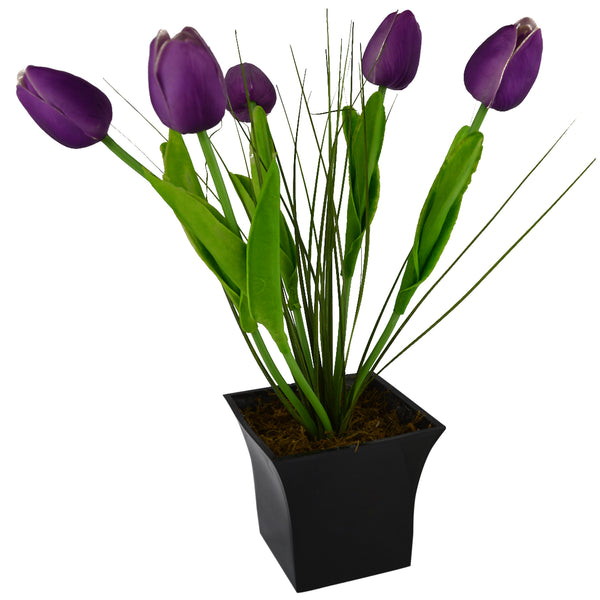 Artificial Flower Tulip Grass with Square Long Pot