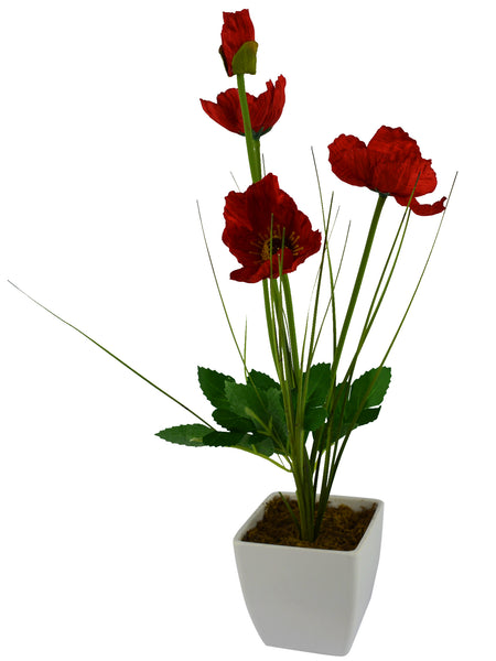 Artificial Flower Poppy Grass with Square White Pot