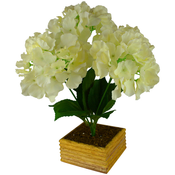 Artificial Flower Silky Hyderanga with Square Wood Pot