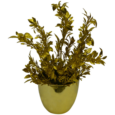 Artificial Flower Tulsi Bunch in round Gold/silver pot