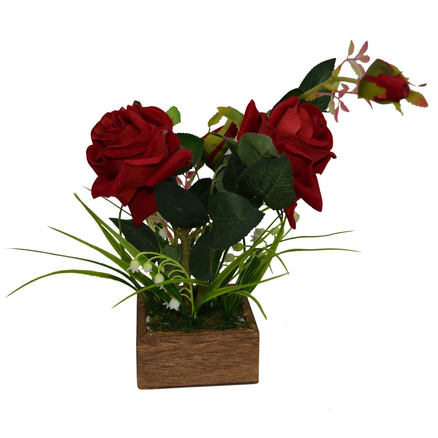 Artificial Flower Rose and bells in square Wood pot