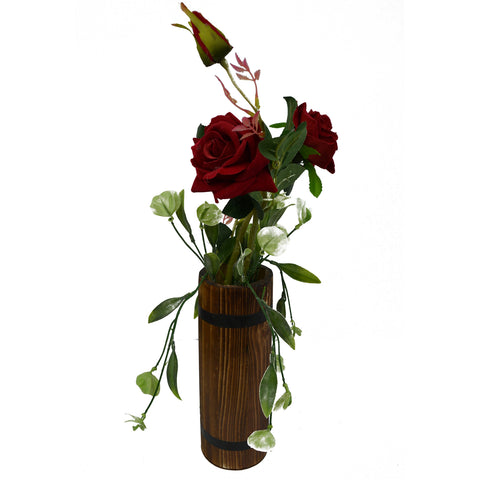 Artificial Flower Rose and discs in Long Wood bucket pot