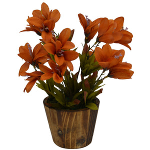 Artificial Flower Lillies in round wood pot