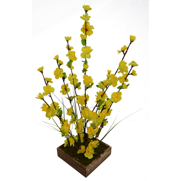 Artificial Flower Blossom in Grass in wood square planter