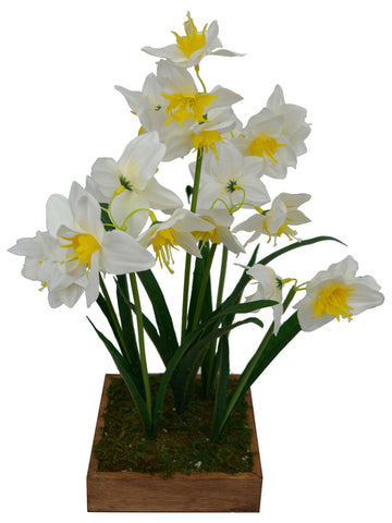 Artificial Flower Narcissus in Grass in wood square planter