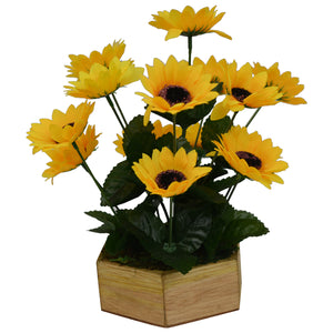 Artificial Flower Sunflower in Hexa Wood pot