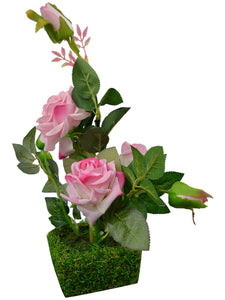 Artificial Flower Real Touch and Feel Rose (38 cm/ 15 inchs) in grass pot