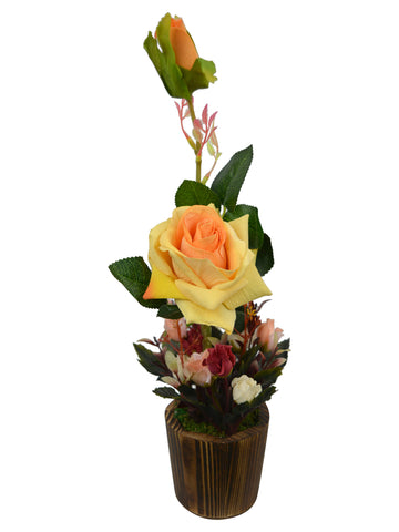 Artificial Flower Rose Dry Buds (33 cm/ 13 inchs) in wood Round small pot
