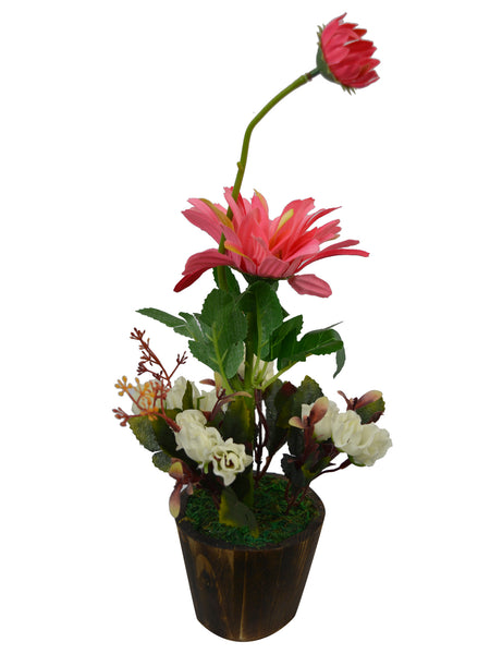 Artificial Flower Gerbera with Dry Buds (35 cm/ 14 inchs) in wood Round small pot