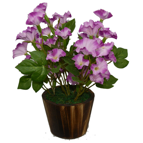 Artificial Flower Morning Glory (30 cm/ 12 inchs) in Wood round pot