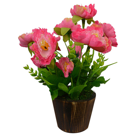 Artificial Flower Peony (26 cm/ 10 inchs) in Wood round small pot