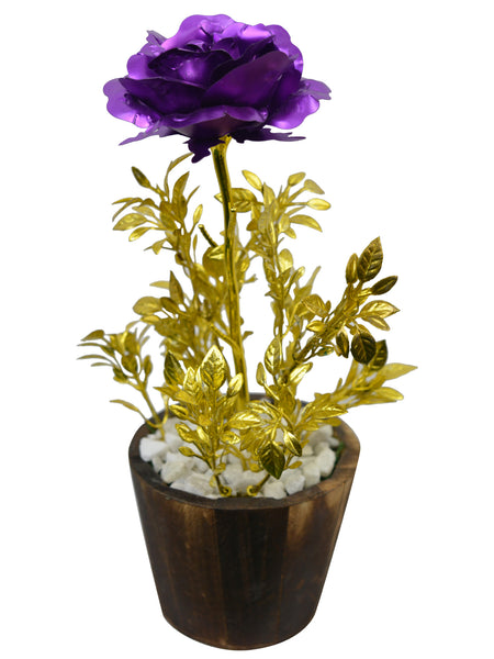 Artificial Flower Golden Rose with Tulsi (26 cm/ 10 inchs) in Wood round small pot