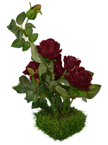 Artificial Flower Real Touch and Feel Rose (40 cm/ 16 inchs) in Grass pot