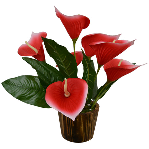 Artificial Flower Calla Lilly (38 cm/ 15 inchs) in Wood round big pot