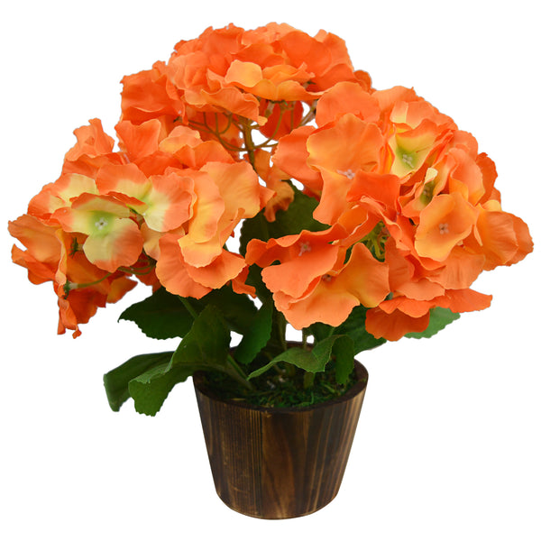 Artificial Flower Hyderanga bunch (28 cm/ 11 inchs) in Wood round big pot