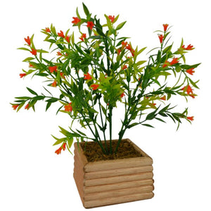 Artificial Spring Flower Bush in Wood Square Pot (Height - 28 cm)
