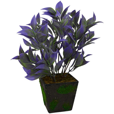 Artificial Autumn Leaves Bush in Black Velvet Square Pot (Height -28 cm)