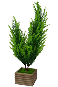 Artificial Twin Bonsai Christmas Tree with Wood Pot (Green)