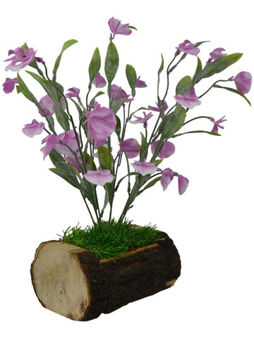 Artificial Autumn Leaves Bush in Wild Grass with Wood Buckle Pot (Height - 38 cm)