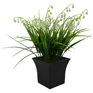 Artificial White Bells Grass in Black Squate Pot (Height - 28 cm)