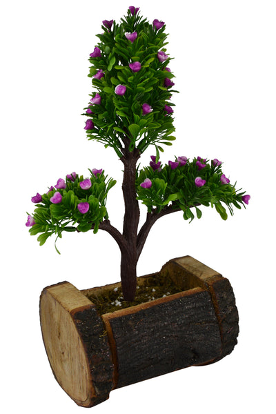 Artificial Bonsai Plant in  Wood Buckle Pot