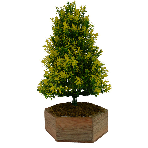 Artificial Bonsai Christmas Tree with Hexagun Wood  Pot